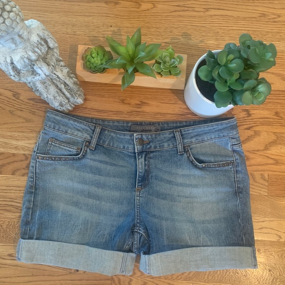 Zara Stretch Denim Studded Jean Shorts